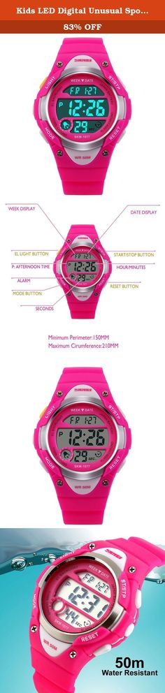 Kids LED Digital Unusual Sports Outdoor Children's Wrist Dress Waterproof Watch with Silicone Band, Alarm, Stopwatch for Girls - Rose Red. Product Description Highlights: • Original Japanese Movement: provide precise and accurate time keeping • Excellent ABS Plastic case and Stainless Steel case back • Germany Imported PU Resin Strap • Highly Transparent Resin Glass, not easy to wear • Stainless Steel Buckle • 50M Water Resistant: Daily Use Waterproof, Hand Wash, Shower, Swimming, NO...