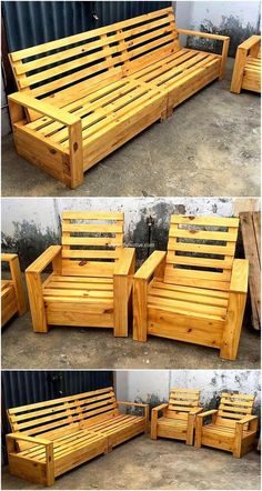 Pallet Furniture Ideas - Cheap Achievements With Reclaimed Wooden Pallets - Part 2 In search of economical fixtures for your abode? Reclaimed wooden pallets can be obedient to … Pallet Garden Furniture, Outdoor Furniture Plans, Furniture Projects, Rustic Furniture, Furniture Decor, Furniture Outlet, Pallet Crafts, Diy Pallet Projects, Woodworking Projects