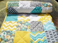 Modern Baby quilt,Teal,grey,yellow,Patchwork crib blanket,woodland,rustic,baby boy bedding,baby girl quilt,elephant,Catch a Falling Star love this