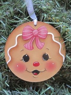 HP GINGERBREAD Face ORNAMENT Handpainted by stonehouse28