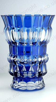 VINTAGE GLASS IN BLUE. c.1950s VAL ST. LAMBERT BUE OVERLAY CRYSTAL AGLAE VASE. This item is sold, to visit my website to see what's in stock click here: http://www.richardhoppe.co.uk or for help or information email us here: info@richardhoppe.co.uk