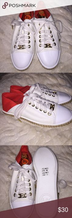 NWOT Michael Kors Sneakers 👟👟 NWOT Michael Kors Sneakers 👟👟 •• never been worn •• size 5& 1/2, but fits a 6 just as well •• runs a bit big •• color is cream with red-orange •• 20% discount with bundles !!!!!!! Michael Kors Shoes Sneakers