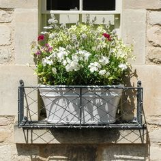 Window Boxes - Metal Window Box Displays Hand made window boxes from Garden Requisites. Create beautiful outside spaces using British metalwork in classic designs. Wrought Iron Window Boxes, Metal Window Boxes, Window Box Flowers, Flower Boxes, Flower Basket, Flower Containers, Metal Box, Over Door Canopy, Door Canopy Porch