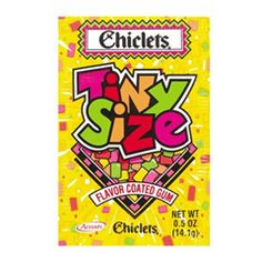 tiny chiclets...I'd empty the entire packet into my mouth and chew the whole wad of gum at once.  Seemed like a good idea at the time.