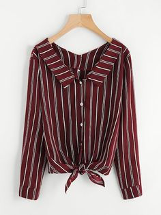 SheIn offers Vertical Striped Knotted Hem Shirt & more to fit your fashionable needs. Striped Long Sleeve Shirt, Long Sleeve Crop Top, Long Sleeve Shirts, Vertical Striped Shirt, Knotted Shirt, Spring Shirts, How To Roll Sleeves, Casual Tops, Men Casual