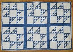 Tiny Pieces Antique c1880s Indigo Blue Amp White Crib or Table Quilt 40x27 | Vintageblessings