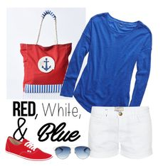 """""""Fun and Games"""" by patricia-dimmick ❤ liked on Polyvore featuring Nautica, Aerie, Current/Elliott, Vans, Christian Dior, redwhiteandblue, Nautical, july4th and summerbrights"""