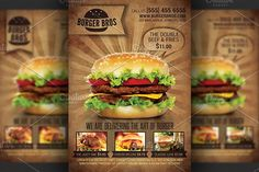 Burger Promotion Flyer Template by Hotpin on @creativemarket