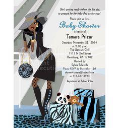 Baby Bump Shower Invitation / Chic Diva Shopper, Blue