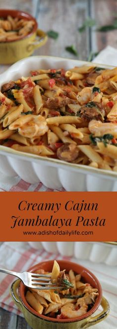 Creamy Cajun Jambalaya Pasta...an easy one pot meal for families on the go!