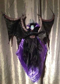 """WICKED 1ooaK hanging art- Maleficent ornament- bat-wing Witch marionette  -39"""" Maleficent, Hanging Art, Bat Wings, Wicked, Witch, Ornaments, Witches, Christmas Decorations, Witch Makeup"""