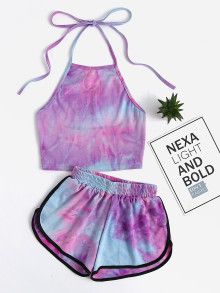 croptop girls Shop Halter Neck Water Color Crop Top With Ringer Shorts online. SheIn offers Halter Neck Water Color Crop Top With Ringer Shorts amp; more to fit your fashionable needs. Teenage Outfits, Teen Fashion Outfits, Outfits For Teens, Girl Outfits, Casual Outfits, Yoga Outfits, Fitness Outfits, Fitness Wear, Women's Fashion