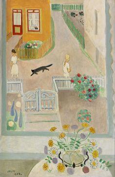 Einar Jolin (Swedish, 1890-1976), Cat in Fiskebäckskil, 1922. Oil on canvas, 54 x 36 cm.
