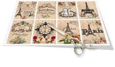 Paris Eiffel Tower French Ephemera Tags Digital by vintagebyme, $4.20