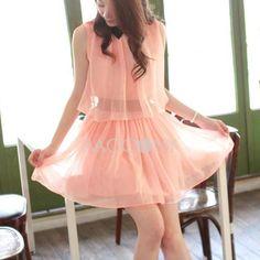 Lapel Chiffon Dresses PACCONY $21.99