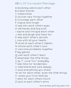 ABCs of a successful marriage  Perfect to use as an anniversary quote