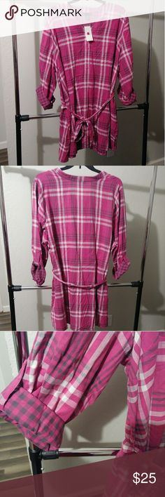 """New Lane Bryant Plaid Shirtdress or Tunic Plaid tunic or shirt dress with tie, long sleeves that can also be cuffed. V-Neck with two buttons. Wear with leggingsand booties or cute tennis shoes for a more relaxed look.  Brand: Lane Bryant Size: 26/28W Flat lay measurement: Bust 29"""" and Length 37"""". Lane Bryant Dresses"""