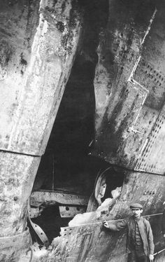Olympic (1911) Damage to the hull of the Olympic after being rammed by HMS Hawke on September 20, 1911.