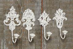 4 Stück Wandhaken weiß Gußeisen Shabby Chic Haken Nostalgie Metallhaken Garderobe Vintage Ornamente Barock Shabby Chic Garderobenhaken: Amazon.de: Küche & Haushalt
