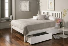 The Malmo white wooden bed frame is a simple, classic design that is beautifully elegant and will appeal to most tastes. The traditional styling of the Malmo white bed is complimented by its contemporary white painted wood finish, mak Cheap Wooden Bed Frames, Wooden Bed With Storage, Double Bed With Storage, Bed Storage, Bedding Storage, Modern Wooden Bed, White Wooden Bed, Wooden Double Bed, White Double Bed Frame