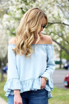 Off Shoulder Ruffle Chambray top, Style Cusp, Spring Style