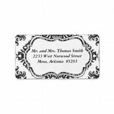 Black Damask Address Label
