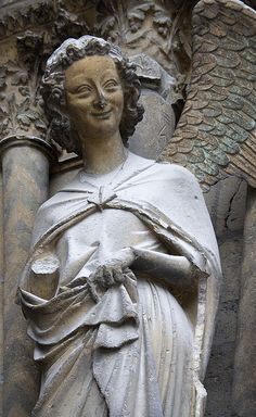 The smiling angel on the cathedral at Reims.
