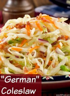 German Coleslaw This vinegar-based coleslaw has all the taste of a traditional German potato salad but in coleslaw form. Try this for a change of pace! The post German Coleslaw appeared first on Deutschland. Cabbage Recipes, Vegetable Recipes, German Salads, German Potatoes, Cooking Recipes, Healthy Recipes, International Recipes, Soup And Salad, The Best