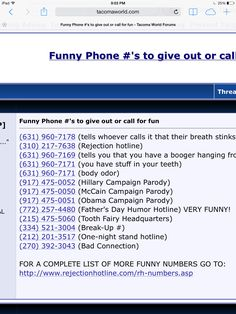 Fun phone numbers to call! - Prank - Prank meme - - Fun phone numbers to call! The post Fun phone numbers to call! appeared first on Gag Dad. Funny Numbers To Call, Funny Phone Numbers, Prank Call Numbers, Good Pranks, Funny Pranks, Funny Texts, Funny Jokes, Hilarious, Funny Commercials