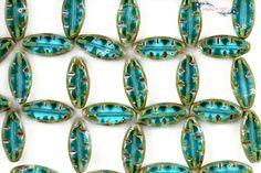 Premium Czech Table Cut Petals Beads 18X7mm - Aqua Bohemica Picasso