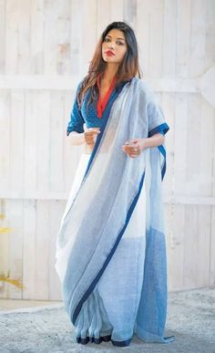 White and Pale Blue Simple Colorblock Saree:                                                                                                                                                                                 More