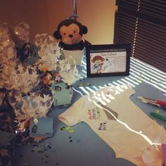 Baby Shower Ideas: Sign in table, Rockstar Monkey, Blue, Brown, and Cream theme