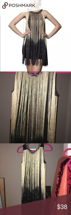 Eden black & gold fringe dress Gorgeous fringe dress Stretchy dress can fit small or medium firm price Missguided Dresses