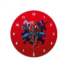 Spider-Man Leaping Out Of Spider Graphic Round Clock