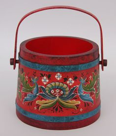 Painted bucket, rosemaling, Norwegian folk-art.  This is painted in the American Hallingdal style.