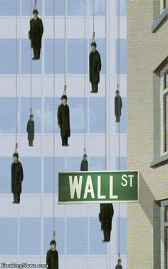 This is Portugal, ups, Wall Street. by Rene Magritte