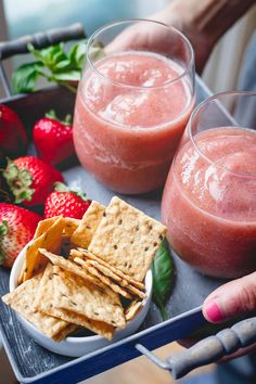 Crunchmaster crackers and easy cider slushies with strawberries and basil make the perfect summer happy hour.