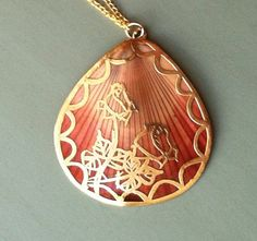 Vintage Gold Rose Shell Necklace by MatildaMarie on Etsy, $24.99