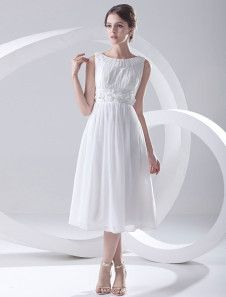 A-line White Chiffon Jewel Neck Tea-Length Women's Cocktail Dress