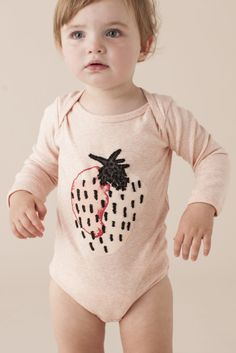 bf48f11853c Strawberry onesie. Kids Branding