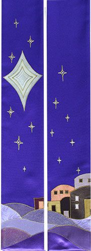 Purple advent stole, depicting the town of bethlehem, star of david and a cascade of stars. Beautifully appliqued onto purple hopsack fabric, with special 3D fabric paint to embellish. The stole is completely machine washable.