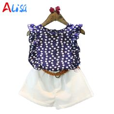Girls Clothes 2016 Brand Girls Clothing Sets Kids Clothes Cartoon Children Clothing flower Tops+Shorts clothing set #Affiliate