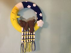 Teddy Sleeping on the Moon Wreath Crochet Pattern from Lisa Kingsley via Ravelry