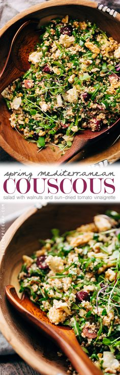 Spring Mediterranean Couscous Salad with Walnut and Sun-dried Tomato Vinaigrette - Little Spice Jar