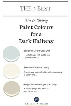 Cool The 3 Best light, neutral and not boring paint colours for a dark hallway or stairwell by Kylie M interiors.jpg The post The 3 Best light, neutral and not boring paint colours for a dark hallway or sta… appeared first on Post Decor . Hallway Paint Colors, Bright Paint Colors, Interior Paint Colors For Living Room, Best Interior Paint, Best Paint Colors, Paint Colors For Home, Interior Painting, Interior Design, House Colors