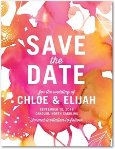 Blooming Together - Signature White Textured Save the Date Cards - Stina Persson - Fuchsia - Pink : Front