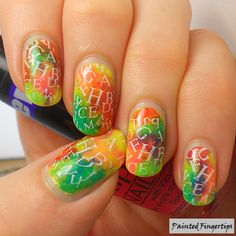 Painted Fingertips | Stamped letters over a neon background