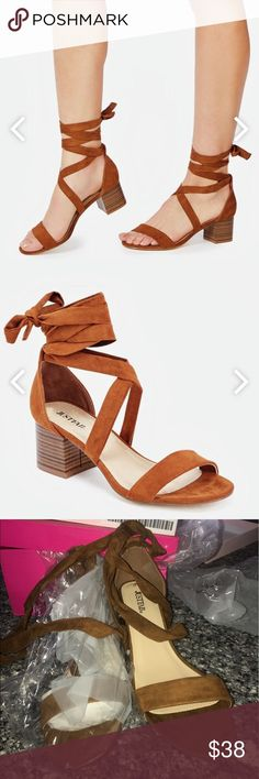 """Low heel sandals, 7.5 brown pumps These are originally $60 and are called """"gaeta"""" sandals pumps, low heel sandals in the color whiskey (brown). They are 7.5 but my feet are too wide for them and the fit doesn't look right. I just forgot to return them in the allowed time so now I am out of luck. Never worn and only tried on one of them and realized wouldn't fit properly. The one heel as shown in pic still isn't even opened yet. They are amazing and I love them.  But if you have feet that are…"""