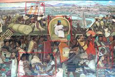 Mural showing life in Aztec times at Tenochtitlán (detail). Painted by Diego Rivera in 1945, photo by Wolfgang Sauber in 2008 (Palacio Nacional, Mexico City, Mexico)