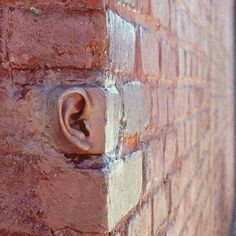 "Artist: Michael Beitz Title: ""Ear Brick"" Medium: Cement Date: 2001 Size: Unknown 3d Street Art, Street Art Graffiti, Art Bizarre, Urbane Kunst, Photo Vintage, Saatchi Gallery, Foto Art, Chalk Art, Public Art"